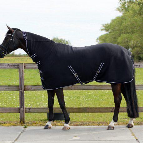 Black fleece rug with neck