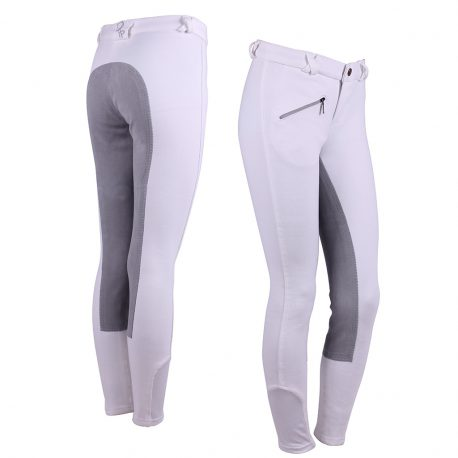 White Junior Breeches with Leather Seat