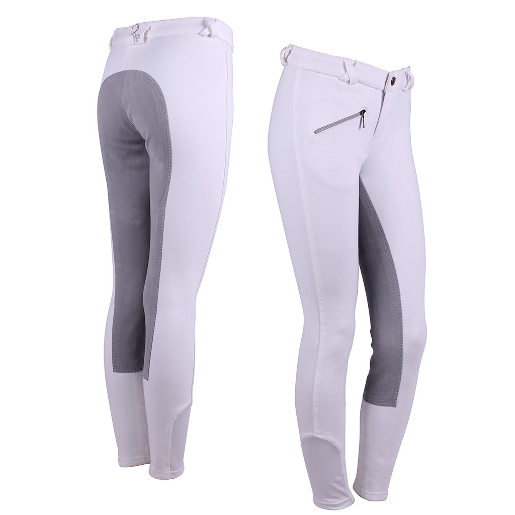 Qhp Junior Breeches With Leather Seat Elite Equestrian