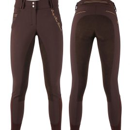 QHP Highwaist Brown breeches with leather seat UK 14 more a UK 10/12