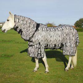 Rhinegold Savanna Zebra Print Full Neck Fly Rug With Side Skirts