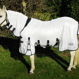 Rhinegold Savanna White Full Neck Fly Rug With Side Skirts