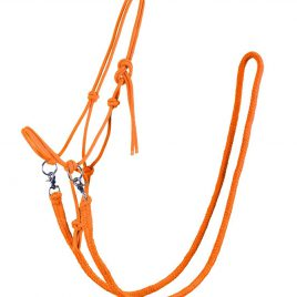 QHP Rope Head Collar with Rein Orange