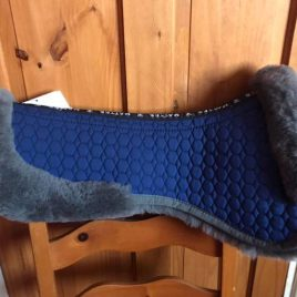 Mattes Blue and Dark Grey Dressage Half Pad