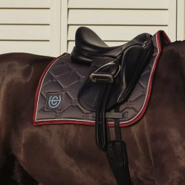 Equestrian Stockholm Grey Bordeaux Dressage Saddle Pad