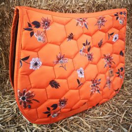 Dotibel Orange Flowers Saddle Pad