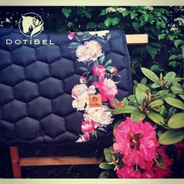 Dotibel Black Peonies Saddle Pad