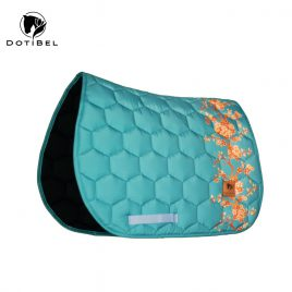 Dotibel Satin Turquoise Sienna Floral Saddle Pad