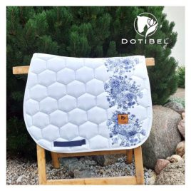 Dotibel Satin Chalk with Navy Floral Saddle Pad