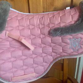 Mattes Blush Pink Sheen Saddle Pad with Sheepskin Saddle Shaped Trim