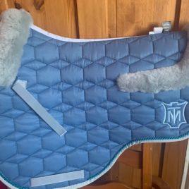 Mattes Cornet Blue Sheen Saddle Pad with Saddle Shaped Trim