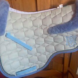 Mattes Metal Sheen Saddle Pad with Sheepskin Saddle Shaped Trim