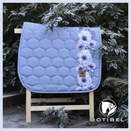Dotibel Satin Blue Tartan with Poppies