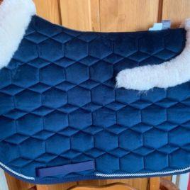 Mattes Navy Velvet Square Jump Saddle Pad with Saddle Shaped Sheepskin Trim